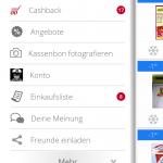 scondoo app Menü mit Einkaufsliste